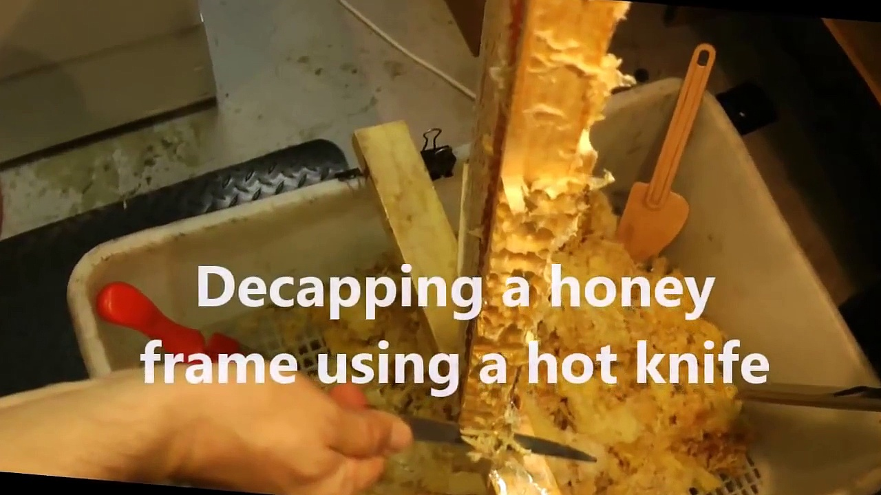 How to UNCAP a full honey frame fast with a hot knife – Beekeeping 101