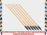 NuoYa005 Archery 31 RED Stripe Feather Target Deck Wooden Arrows For Bald bow pack of 6