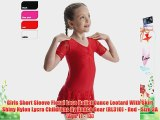 Girls Short Sleeve Floral Lace Ballet Dance Leotard With Skirt Shiny Nylon Lycra Childrens