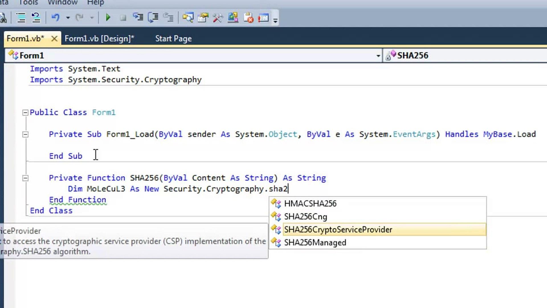 How To Make SHA256 Hash Converter (VB NET)
