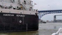 Panasonic LX5 Winter test-Huge Great Lakes freighter American Republic in the ice of Cuyahoga River