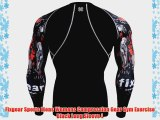 Fixgear Sports Mens Womens Compression Gear Gym Exercise Black Long Sleeve L