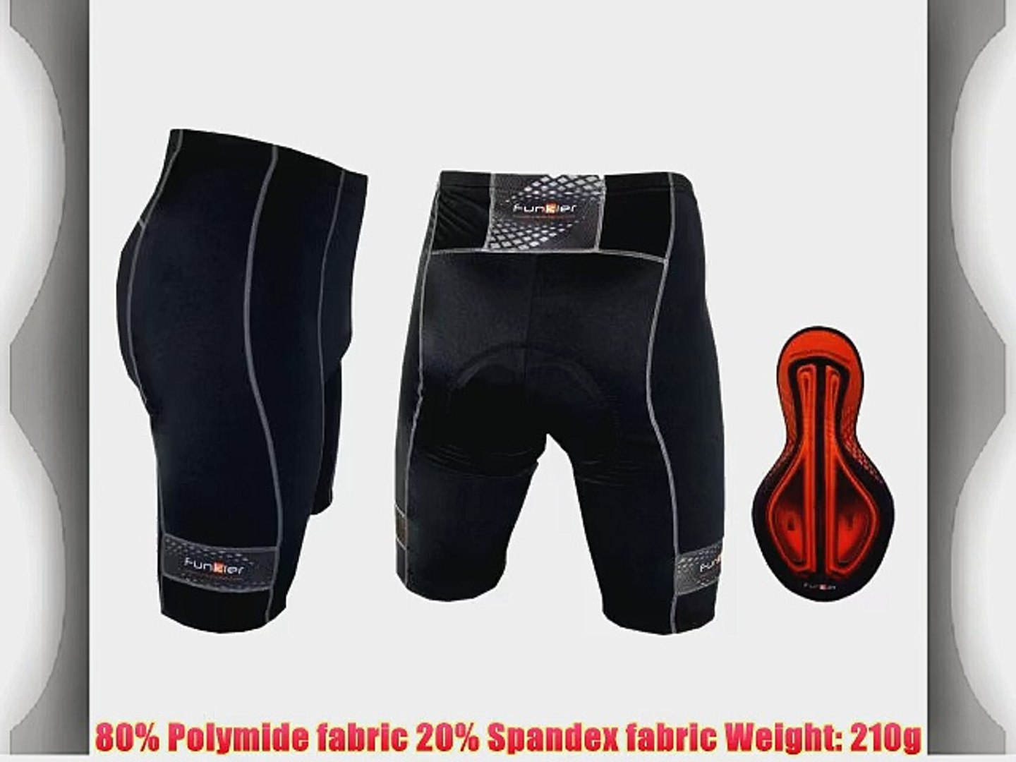 Funkier New 17 Panel Active Cycling Bike Bib Shorts in Black and Various Sizes