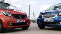 Smart Fortwo Prime Lava Orange and Smart Forfour Proxy Midnight Blue DCT Turbo Cologne July 2015