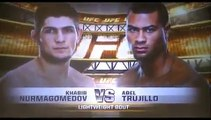 Khabib Nurmagomedov pushes Abel Trujillo at the UFC 160 weigh-in Dana White tries to stop it!
