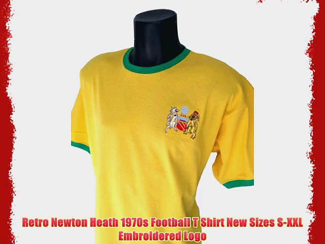 Retro Newton Heath 1970s Football T Shirt New Sizes S-XXL Embroidered Logo