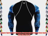 Fixgear Sports Mens Womens Compression Running Base layer T shirt Blue Print Xl