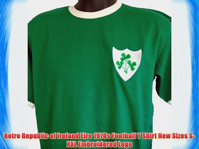 Retro Republic of Ireland Eire 1970s Football T Shirt New Sizes S-XXL Embroidered Logo