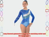 Gymnastics Leotards Long Sleeved Gym Wear Royal Velvet and Metallic Foil ?