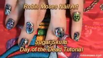 Nail Art Tutorials | DIY Sugar Skull Nails | Design for short nails