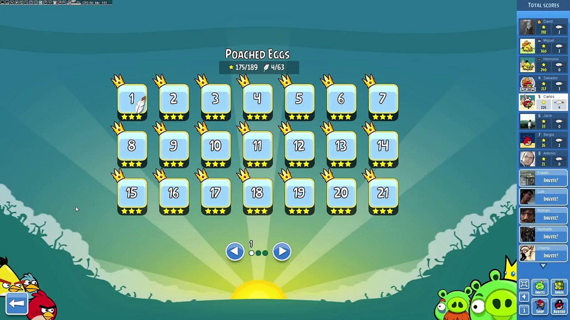 Infinite Birds in Angry Birds Facebook