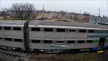 Pere Marquette 1225 in Owosso Michigan. North Pole Express 2014.  Polar Express. Aerial Video.