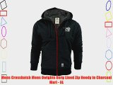 Mens Crosshatch Mens Dwights Borg Lined Zip Hoody in Charcoal Marl - XL