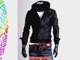 Hot Sales Synthetic Mens Leather Jacket PU Biker Jacket Detachable Hood Motorcycle Jacket