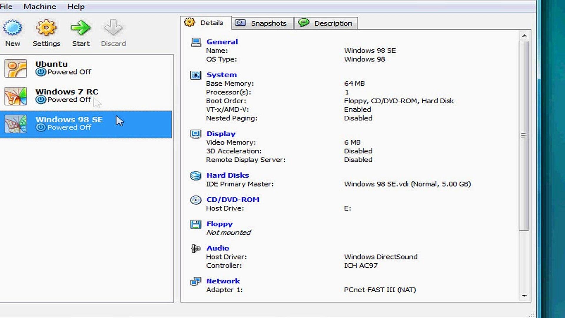Windows 98 install using VirtualBox