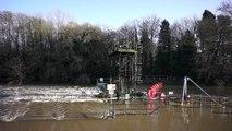 Aerial Filming Kent Flooding 2013, Flooding Christmas Day, Flooding at Teston Lock,
