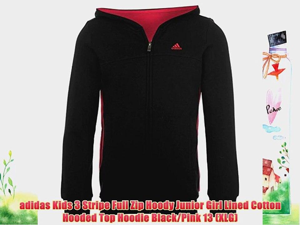 adidas Kids 3 Stripe Full Zip Hoody Junior Girl Lined Cotton