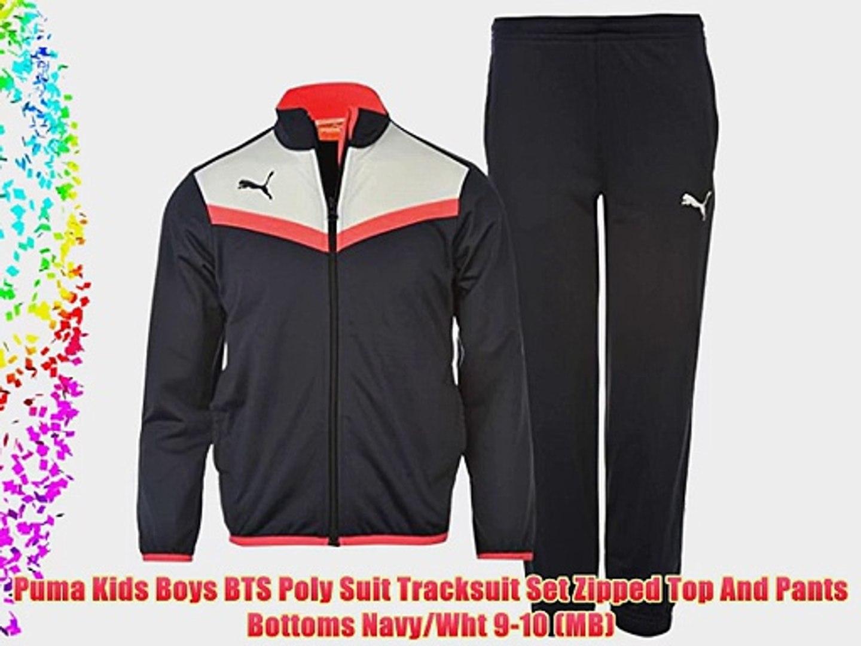1bfaf094821 Puma Kids Boys BTS Poly Suit Tracksuit Set Zipped Top And Pants Bottoms  Navy/Wht 9-10 (MB)