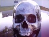 SICKEST CUSTOM MOTORCYCLE HELMET EVER! A TRUE SKULL CAP BY ALL MEANS. CHECK OUT THIS HEAD BASHING PIECE OF 3D ART...BETTER THAN AIRBRUSH!! STRONG BUT LIGHTWEIGHT SKELETON EVIL!!! BLUE FLAME ALLEY STUDIOS