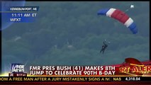 Former President George H.W. Bush Celebrates 90th Birthday with Parachute Jump