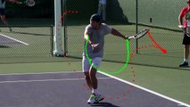 Nadal running forehand Short low ball Extreme hand/wrist action