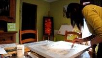 comment faire un tableau abstrait peinture acrylique speed painting #1
