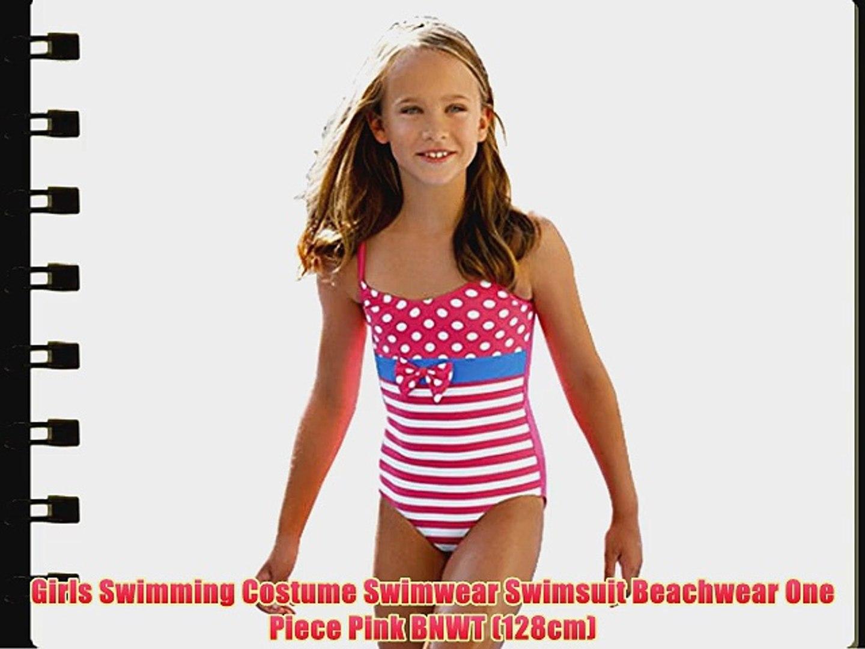 f6d89e2732a Girls Swimming Costume Swimwear Swimsuit Beachwear One Piece Pink BNWT  (128cm) - video dailymotion