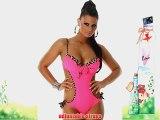 Ladies bandeau monokini bikini wearer Leo Details Leopard Size 12/14 - Pink