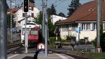 "Murten (Môrat) - S-Bahn Bern (RABe 535, ""Lötschberger"") - FLIRTs der tpf (RABe 527) - Stadtbilder"