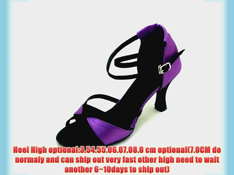 Fashion M Font Tiger satin (pink/red/Purple)of Ladies Latin dance shoes (EU40/25.5CM Purple black)