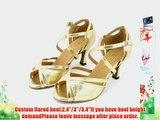 Abby Q-6028 Womens Latin Ballroom Tango Cha-cha Custom Heel Dance Shoes Gold UK Size3