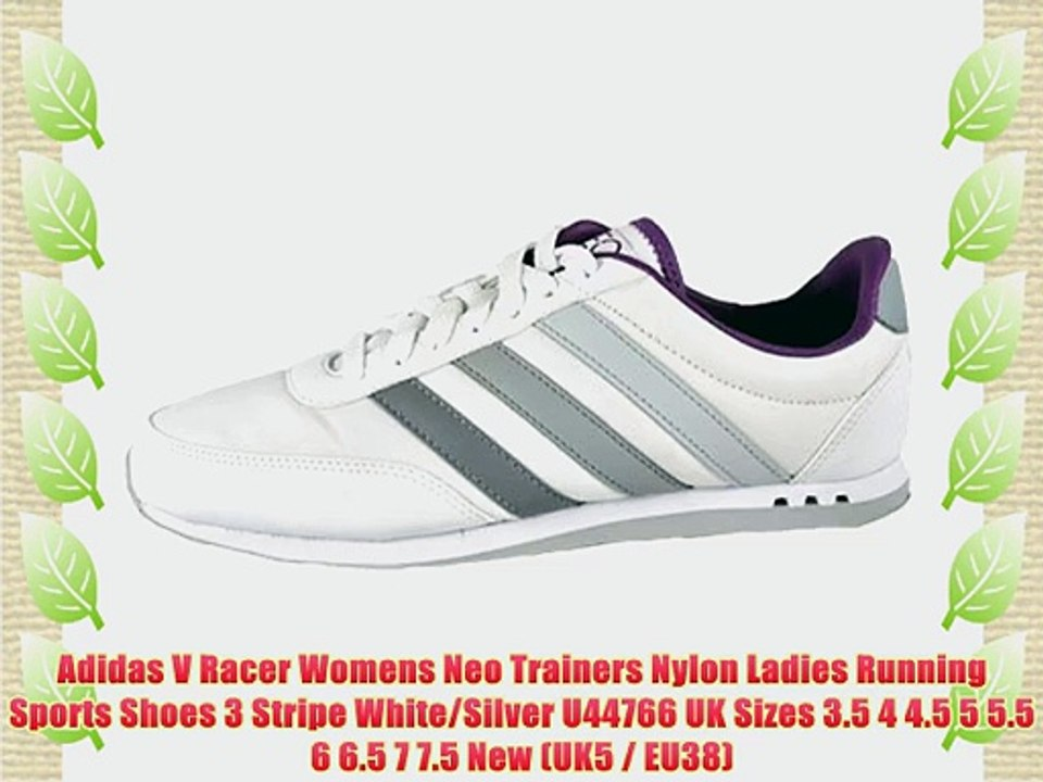 Adidas V Racer Womens Neo Trainers Nylon Ladies Running Sports Shoes 3 Stripe White/Silver