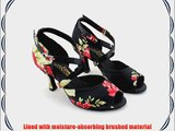 Abby Q-6123 Womens Latin Tango Cha-cha Ballroom Party 3 Flared Heel Dance Shoes Black UK Size5