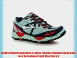 Brooks Womens Cascadia 9 Ladies Trainers Running Shoes Sport Lace Up Footwear Light Blue/Red