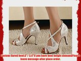 Abby Q-6126 Womens Latin Tango Cha-cha Ballroom 3/3.4''Custom Heel Dance Shoes Silvery UK Size4