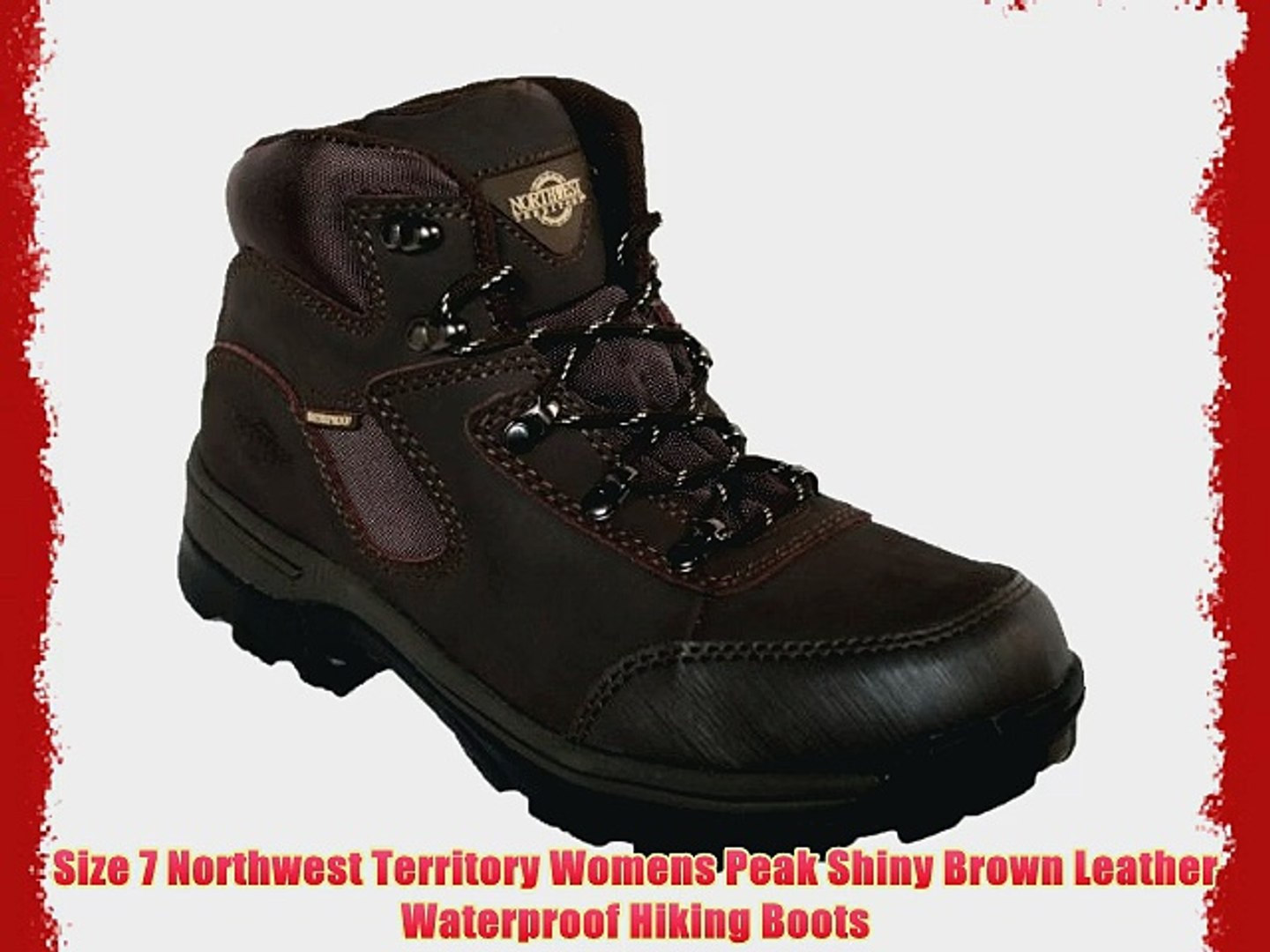 77a6873bcc0 Size 7 Northwest Territory Womens Peak Shiny Brown Leather Waterproof  Hiking Boots - video dailymotion