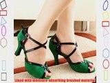 Abby Q-6130 Womens Latin Tango Cha-cha Ballroom 2.4/3.3 Custom Heel Dance Shoes Green UK Size4