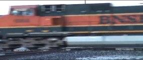 2 East BNSF trains,2 South UP trains Vinita Oklahoma..wmv