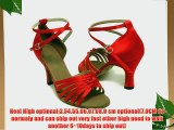 Red Chinese knot stain of Ladies Latin dance shoes-Red(EU36~EU41) (EU36/23.5CM Red)