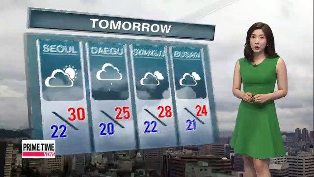 Sun forecast for Seoul on Thursday, showers linger elsewhere
