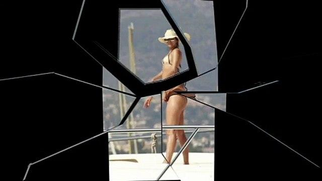 Eva Longoria & Eva La Rue in Bikinis on a boat in Marbella