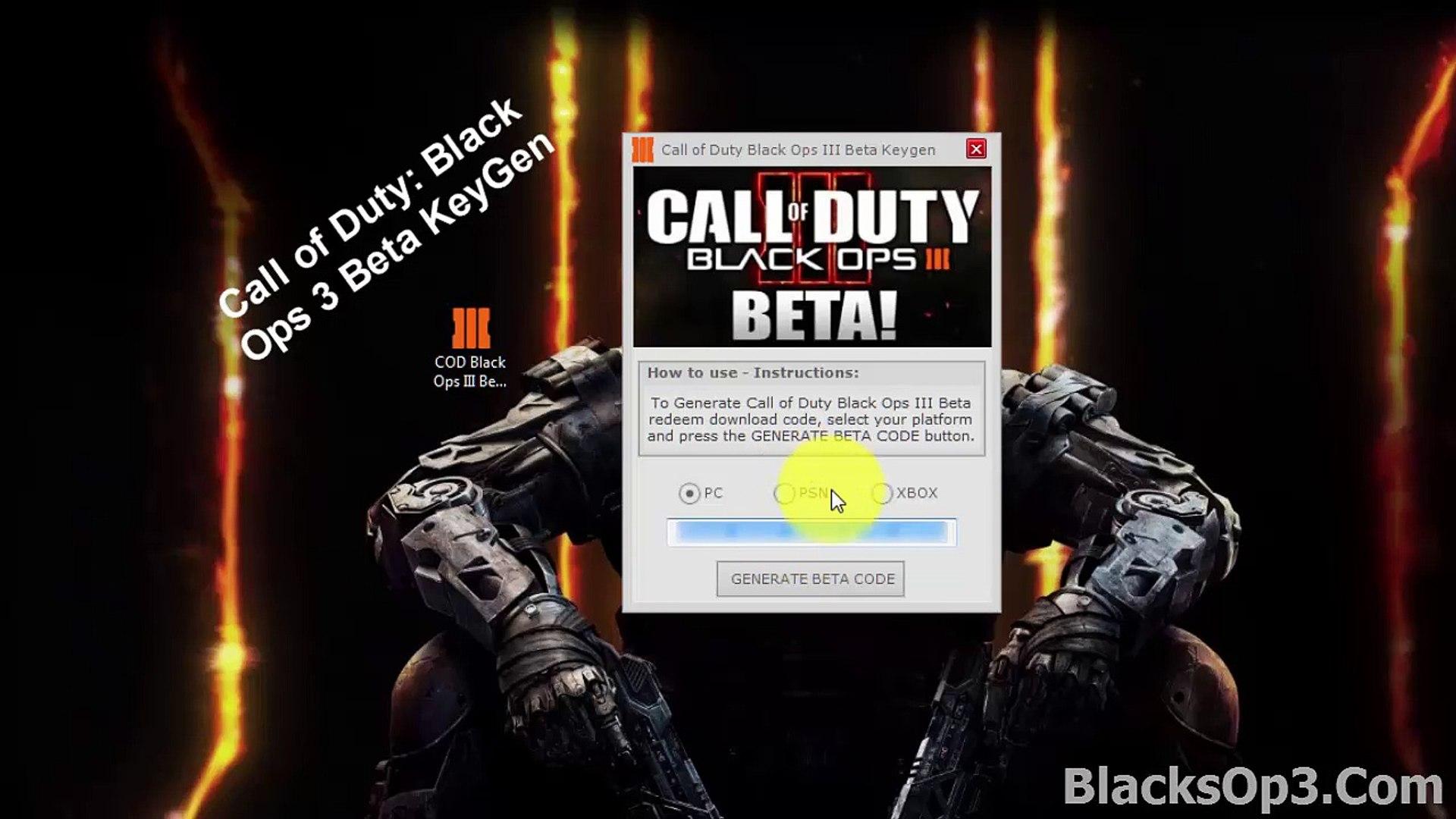 Call of Duty Black Ops III Beta Code Generator FrEe Download