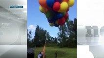 Il vole sur une chaise attachée à 100 ballons d'hélium
