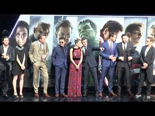 Cast of 'The Avengers: Age Of Ultron' On The Stage At The European Premiere