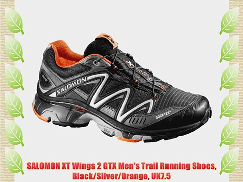 00d35b19 SALOMON XT Wings 2 GTX Men's Trail Running Shoes Black/Silver/Orange UK7.5