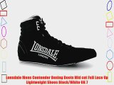 Lonsdale Mens Contender Boxing Boots Mid cut Full Lace Up Lightweight Shoes Black/White UK