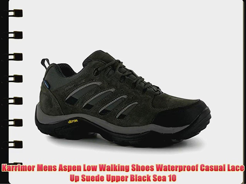 da2fcbe0b1a Karrimor Mens Aspen Low Walking Shoes Waterproof Casual Lace Up Suede Upper  Black Sea 10