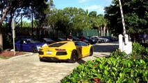 250 Supercars arriving to Exotic car toy rally 2013 Miami. The World's Best Supercars Drive By