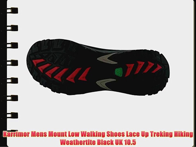 1e165a3c935 Karrimor Mens Mount Low Walking Shoes Lace Up Treking Hiking Weathertite  Black UK 10.5