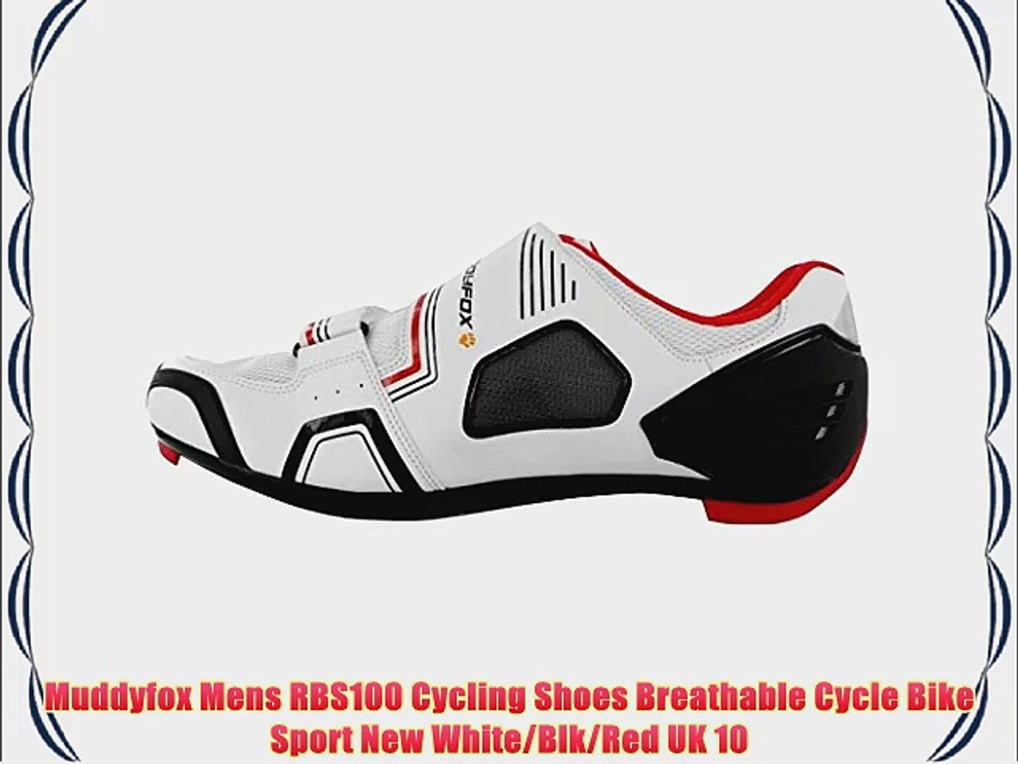 Muddyfox Mens RBS100 Cycling Shoes Breathable Cycle Bike Sport New White/Blk/Red UK 10